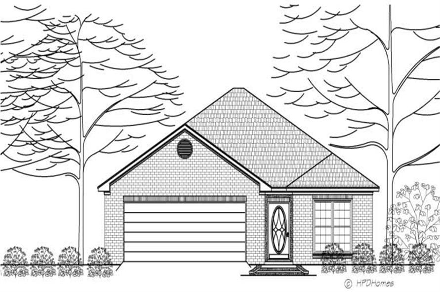 This is the front elevation of Home Plan HPD-B2008