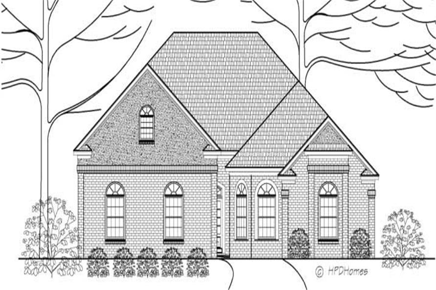 This is a front elevation of House Plan HPD-B2006