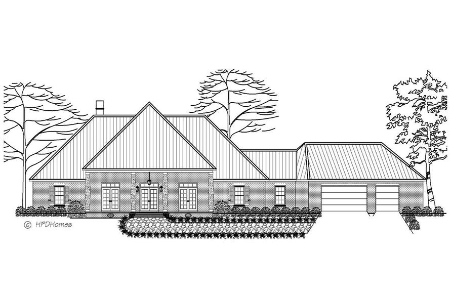 This is a black and white front elevation of these European Homeplans.