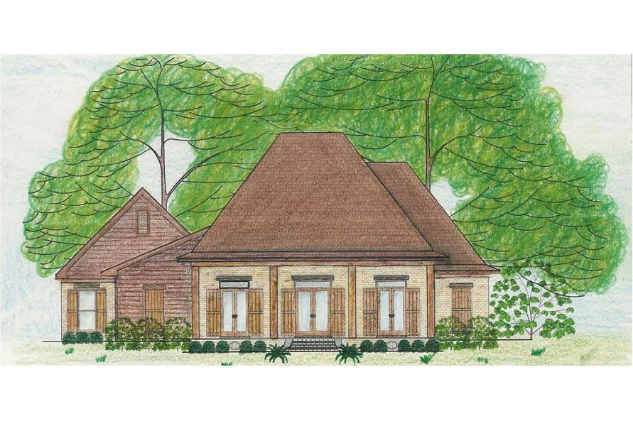 This is a colored rendering of these French Country House Plans.