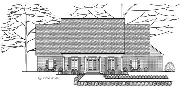 This is a black and white rendering of these Traditional Homeplans.