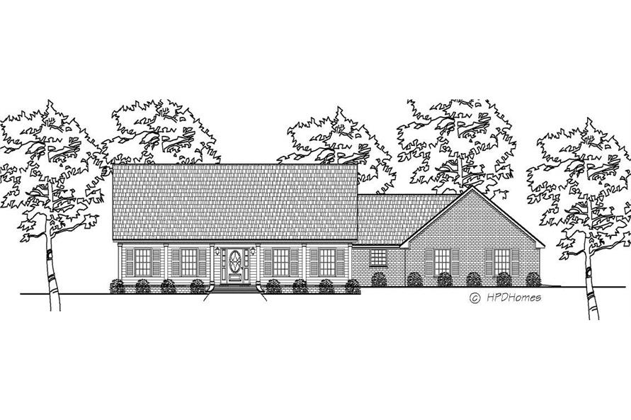 This is a black and white elevation for these Ranch Home Plans.