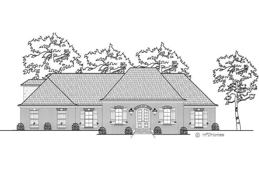 This is a black and white rendering of these European House Plans.