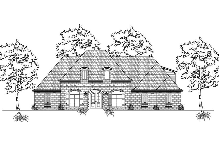 This is a black and white front elevation for these European House Plans.