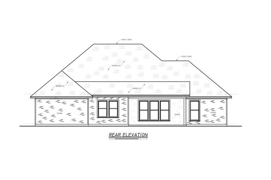 Home Plan Rear Elevation of this 3-Bedroom,1984 Sq Ft Plan -140-1095
