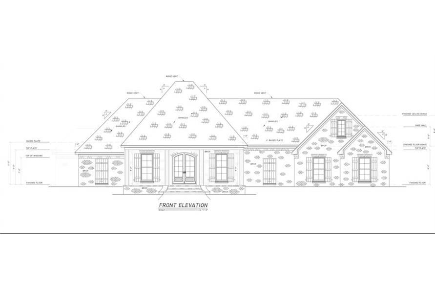 Home Plan Front Elevation of this 4-Bedroom,2694 Sq Ft Plan -140-1114