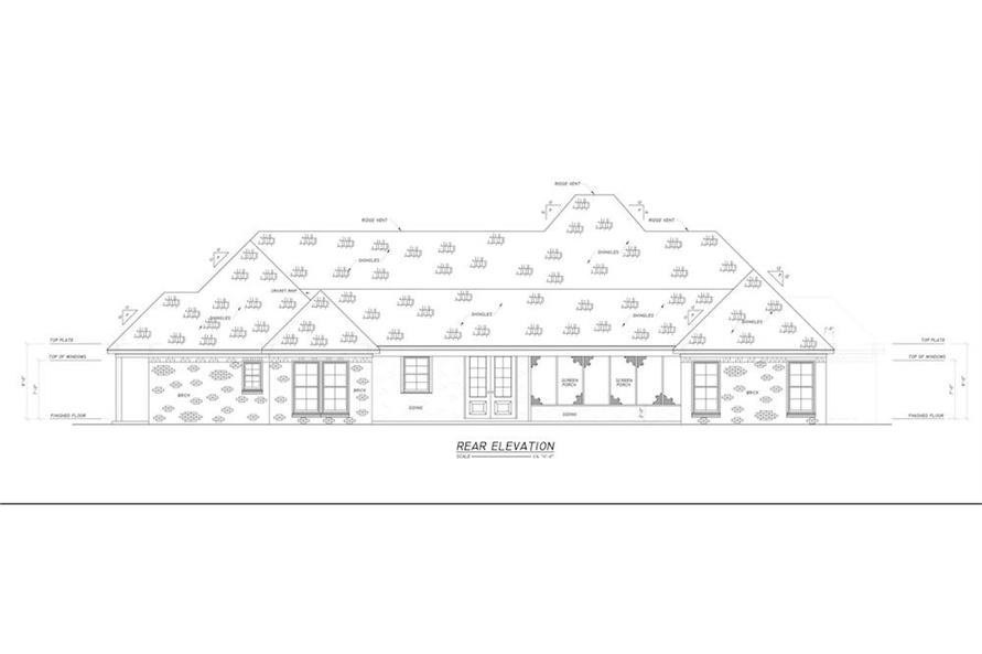 Home Plan Rear Elevation of this 4-Bedroom,2694 Sq Ft Plan -140-1114