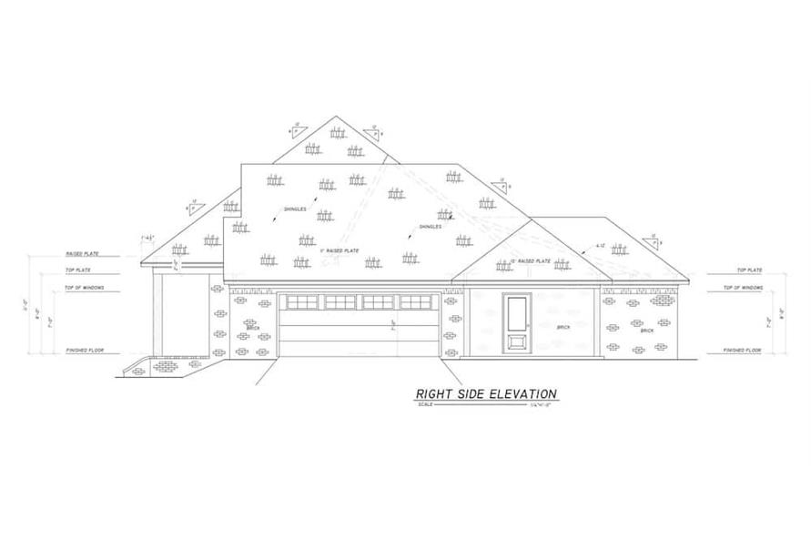 Home Plan Right Elevation of this 4-Bedroom,2694 Sq Ft Plan -140-1114