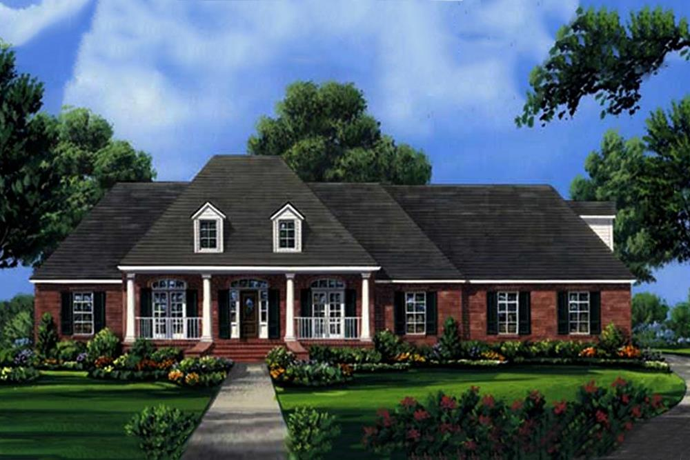 Color rendering of Acadian home plan (ThePlanCollection: House Plan #141-1001)