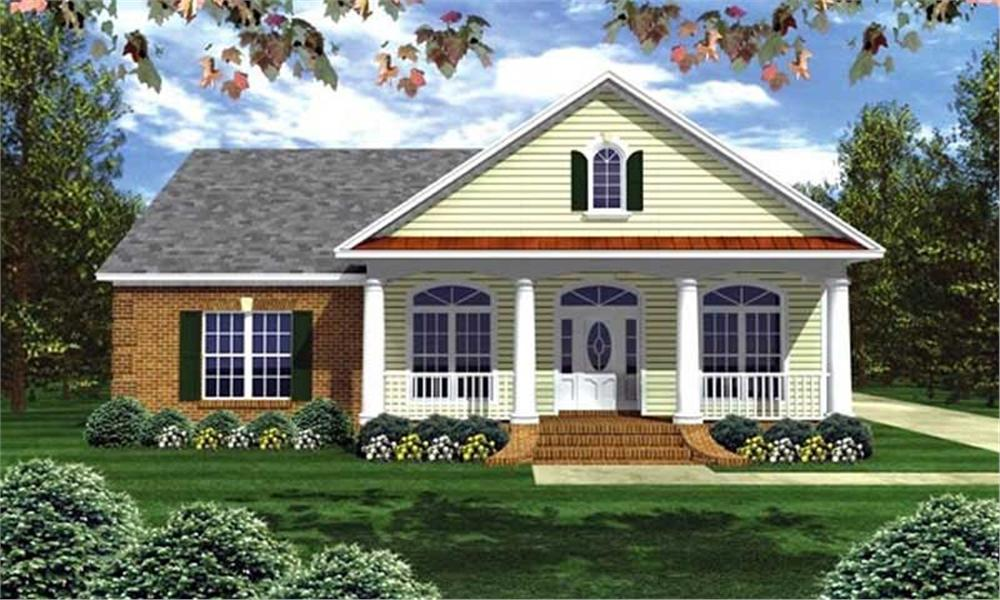 Front elevation of Country home (ThePlanCollection: House Plan #141-1002)