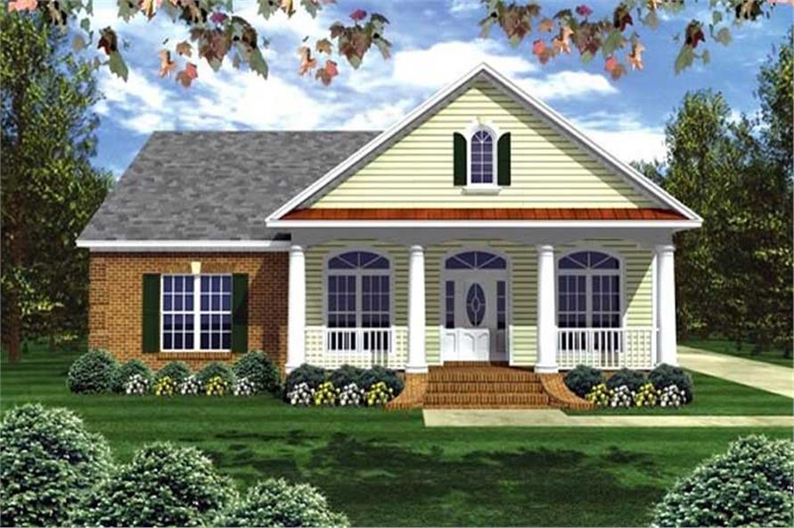 3-Bedroom, 2050 Sq Ft Country House Plan - 141-1002 - Front Exterior