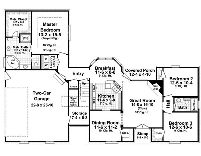Country home plan 3 bedrms 2 baths 1600 sq ft 141 1006 for 1600 sq ft house plans with bonus room