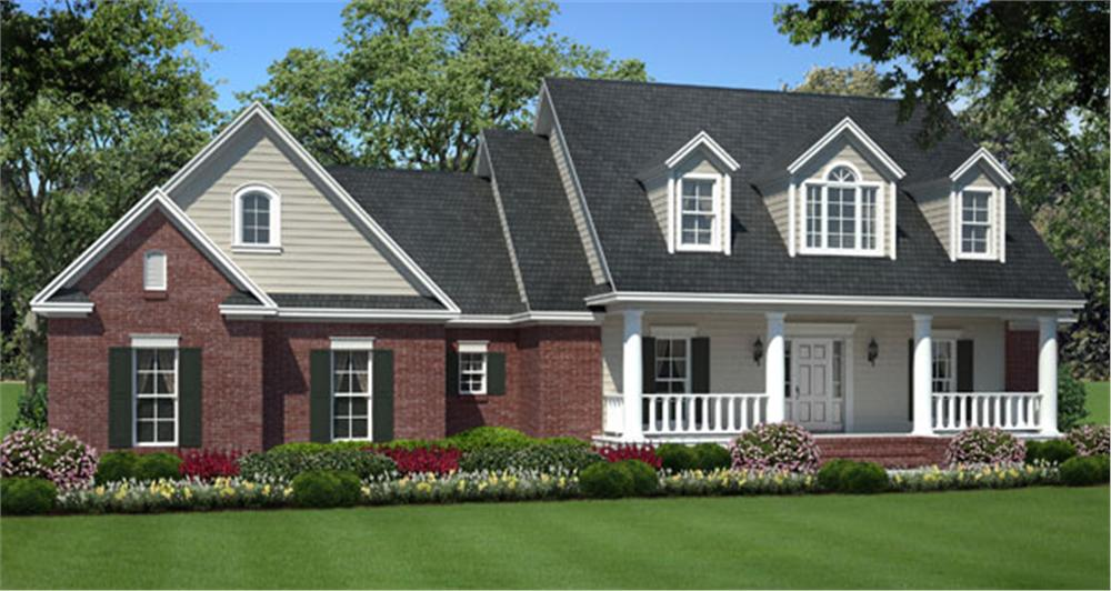 141-1007 house plan front rendering