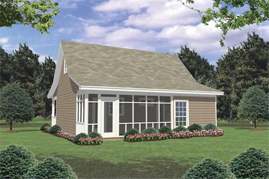 Home Plan Rear Elevation of this 2-Bedroom,800 Sq Ft Plan -141-1008