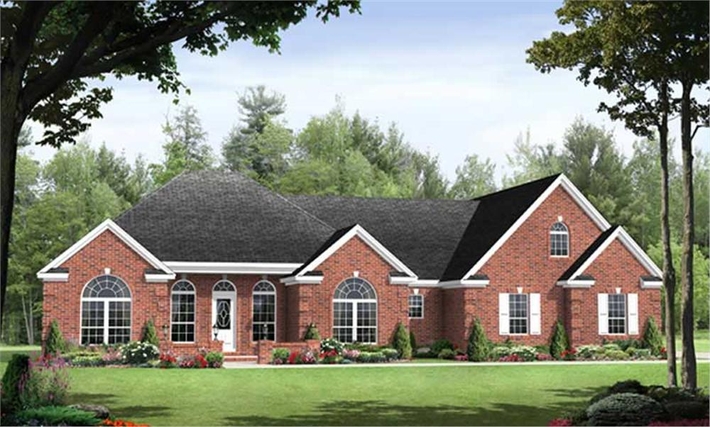 Front elevation of Country home (ThePlanCollection: House Plan #141-1011)