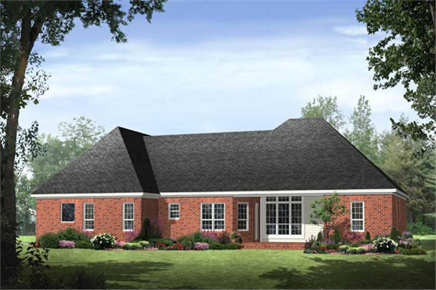 Home Plan Rear Elevation of this 3-Bedroom,1992 Sq Ft Plan -141-1011