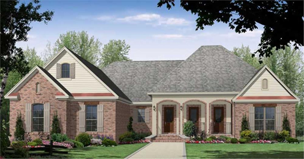 Front elevation of Acadian home (ThePlanCollection: House Plan #141-1013)