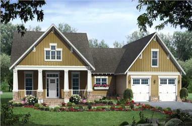 3-Bedroom, 3400 Sq Ft Country House Plan - 141-1014 - Front Exterior