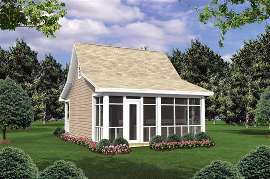 Home Plan Rear Elevation of this 1-Bedroom,400 Sq Ft Plan -141-1015