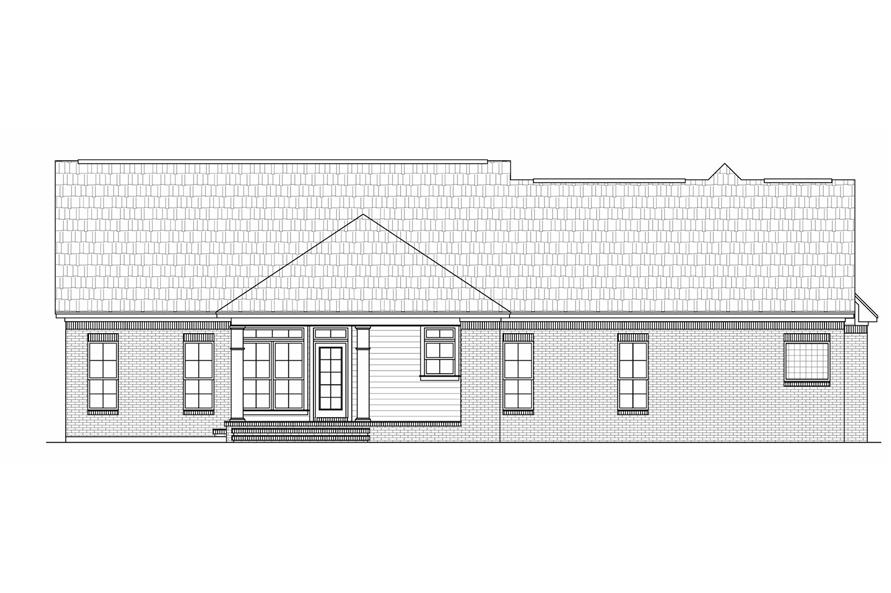 Home Plan Rear Elevation of this 3-Bedroom,2000 Sq Ft Plan -141-1023
