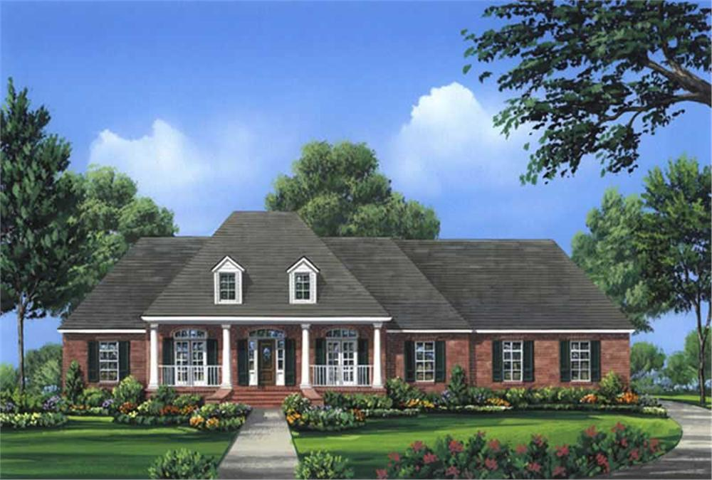 Front elevation of Acadian home (ThePlanCollection: House Plan #141-1024)