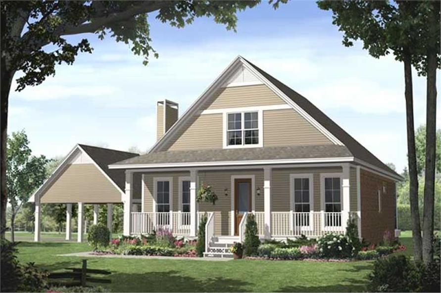 3-Bedroom, 1900 Sq Ft Country Home Plan - 141-1027 - Main Exterior