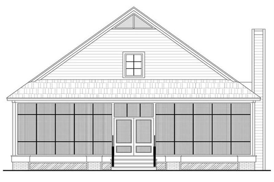 House Plan HPG-1900B-1 Rear Elevation