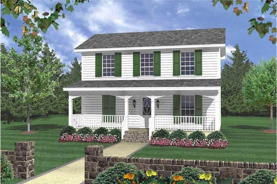 3-Bedroom, 1200 Sq Ft Colonial Country Home Plan - 141-1031 - Main Exterior