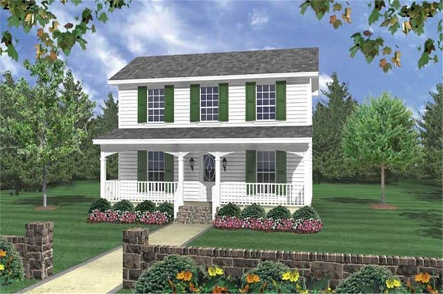 Color rendering of Country home (ThePlanCollection: House Plan #141-1031)