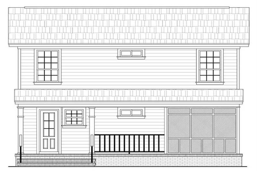 Home Plan Rear Elevation of this 3-Bedroom,1200 Sq Ft Plan -141-1031