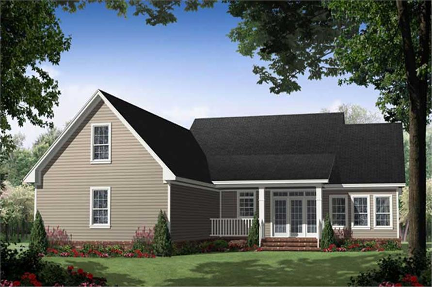Home Plan Rear Elevation of this 3-Bedroom,1903 Sq Ft Plan -141-1032