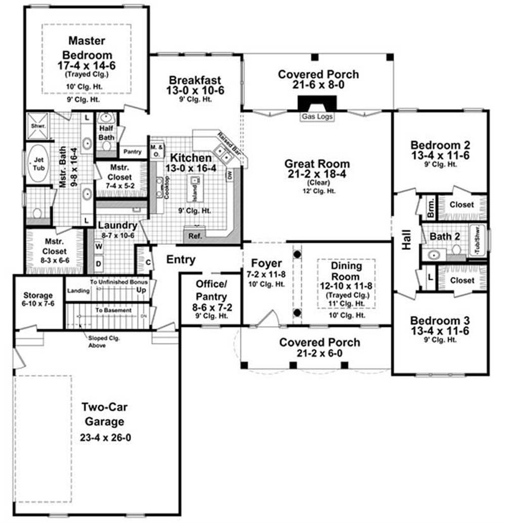 Large images for house plan 141 1033 for The house plan collection