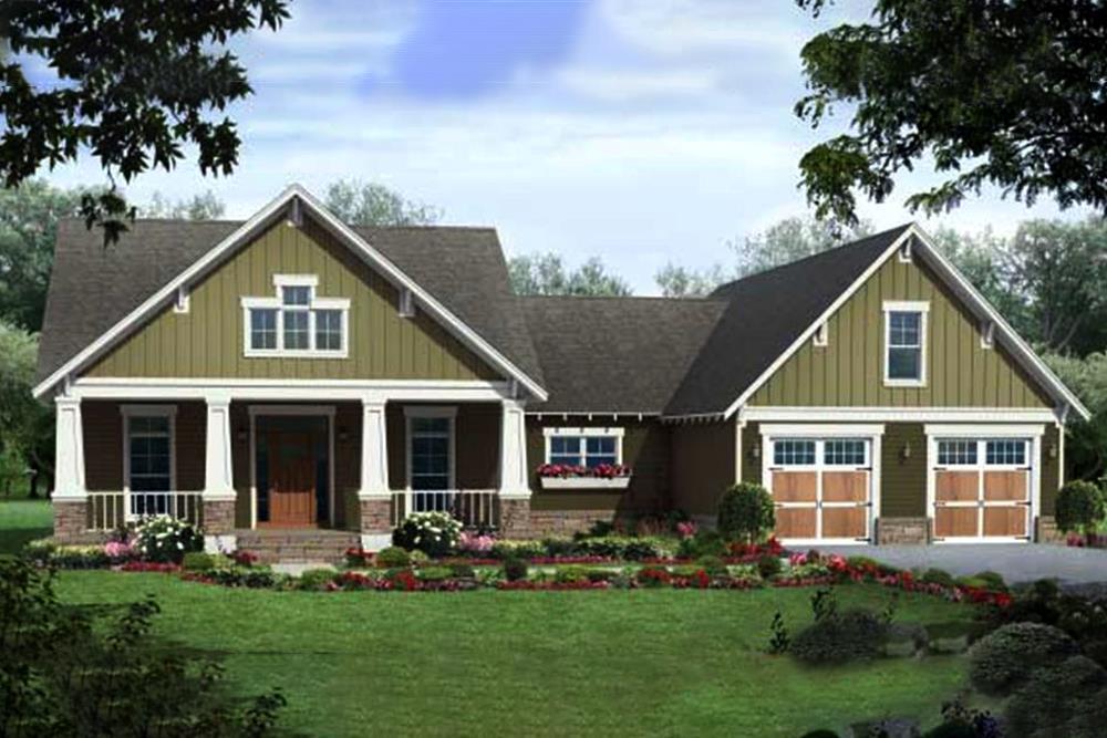Color rendering for Craftsman house plan #141-1035.
