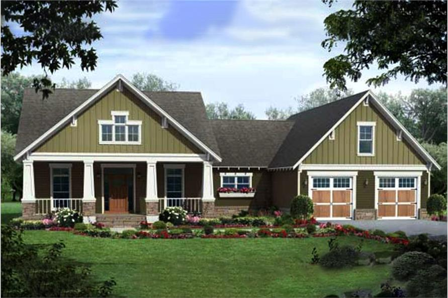 Color rendering for Craftsman house plan #141-1035.
