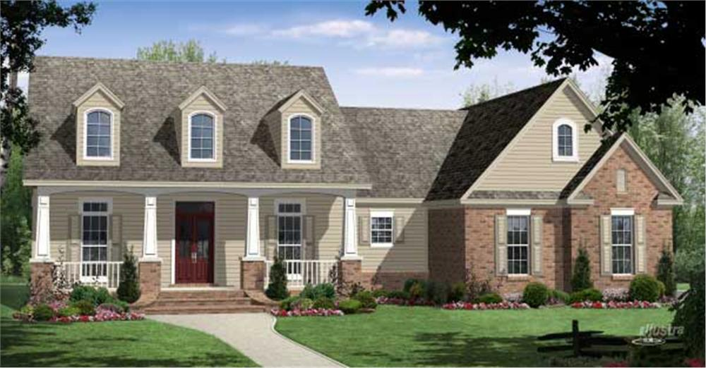 This is a computerized rendering for these Traditional Home Plans.