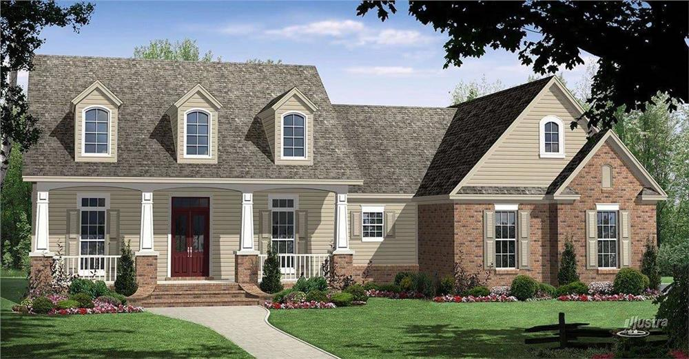 Front elevation of Country home (ThePlanCollection: House Plan #141-1036)