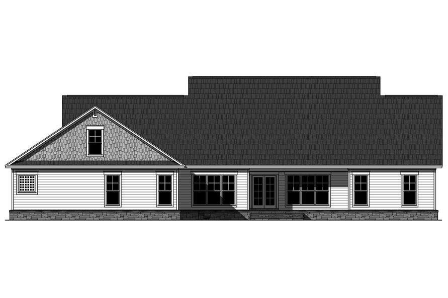 Home Plan Rear Elevation of this 4-Bedroom,2800 Sq Ft Plan -141-1038