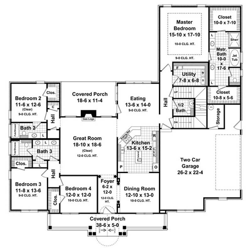 Floor Plan First Story for country house plans HPG-2769