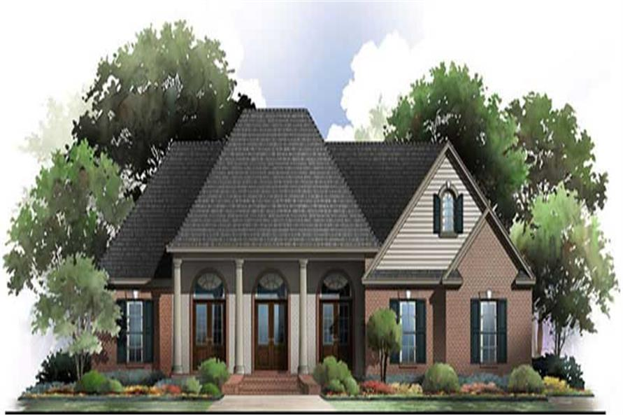 Front elevation of Acadian home (ThePlanCollection: House Plan #141-1042)