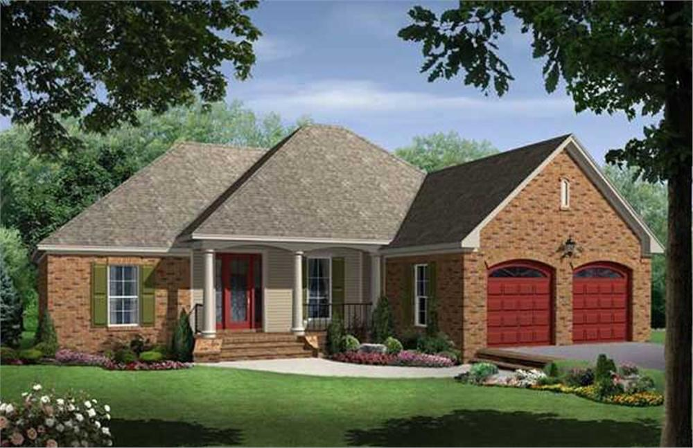 Front elevation of Ranch home (ThePlanCollection: House Plan #141-1043)