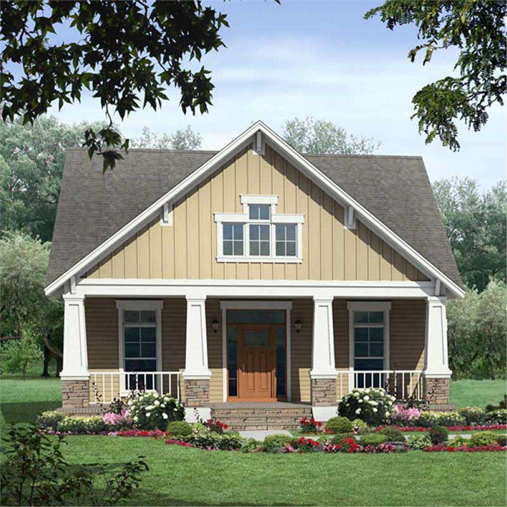 Front elevation of Bungalow home (ThePlanCollection: House Plan #141-1047)