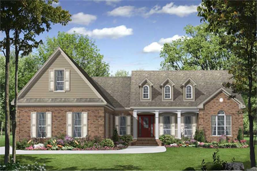 3-Bedroom, 2021 Sq Ft Country House Plan - 141-1048 - Front Exterior