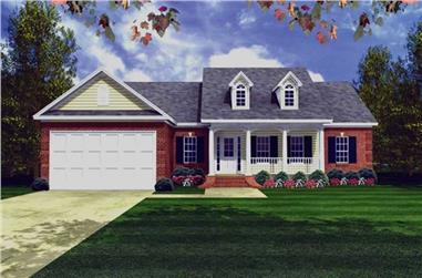 3-Bedroom, 1509 Sq Ft Country Home Plan - 141-1051 - Main Exterior