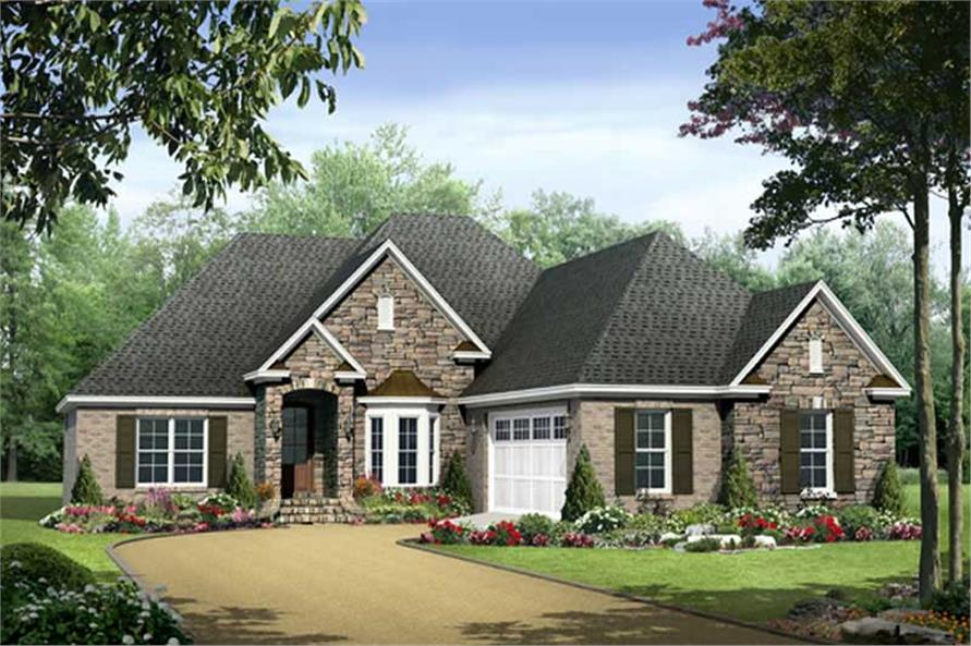 3-Bedroom, 1876 Sq Ft Country Home Plan - 141-1056 - Main Exterior