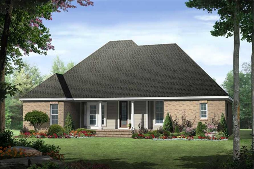 Home Plan Rear Elevation of this 3-Bedroom,1876 Sq Ft Plan -141-1056