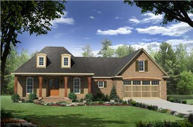 3-Bedroom, 1879 Sq Ft Country House Plan - 141-1057 - Front Exterior