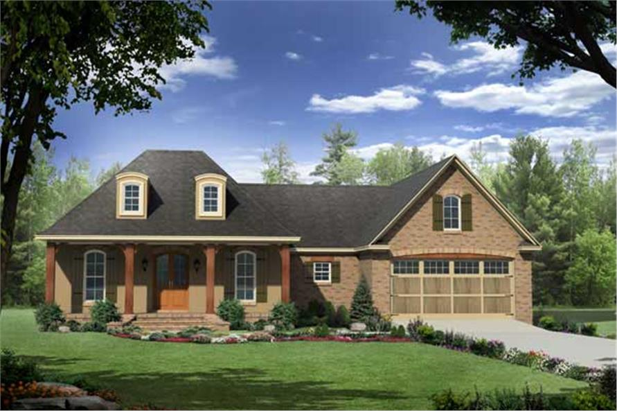 Front elevation of Country home (ThePlanCollection: House Plan #141-1057)