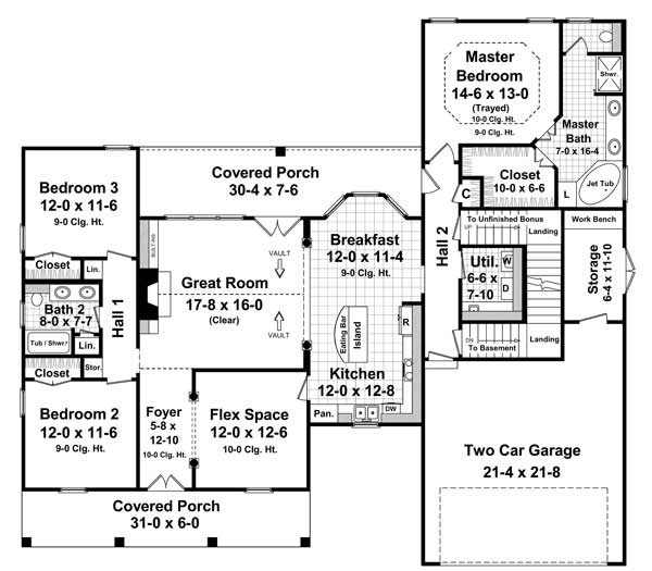 Floor Plan First Story for Country Home Plans # HPG-1879