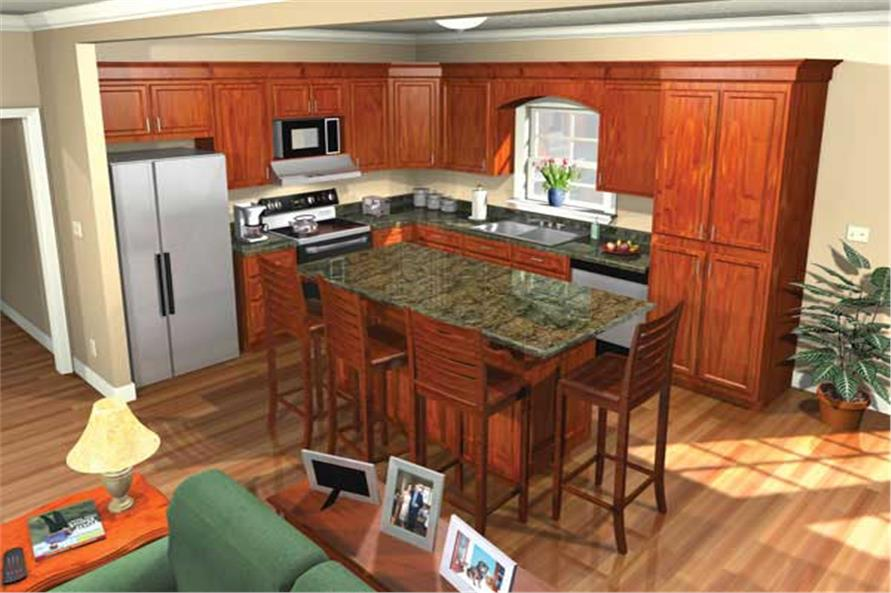 141-1059: Home Plan 3D Image-Kitchen
