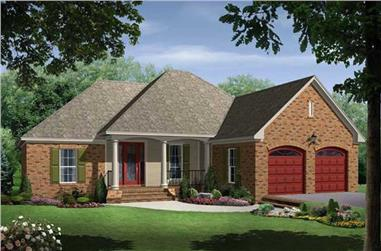 Color rendering of Acadian home plan (ThePlanCollection: House Plan #141-1059)